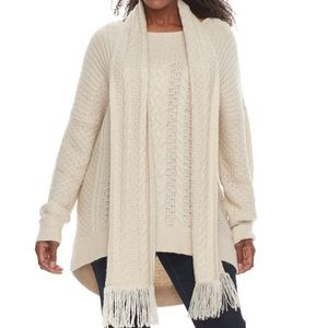NWT Sonoma Size 2X Long Beige Sweater with Scarf